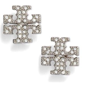 Tory Burch sparkly silver logo earrings